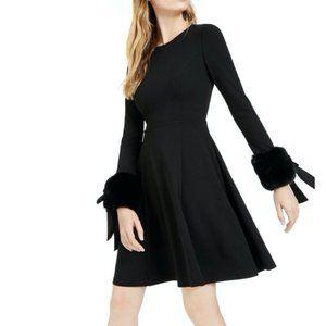 Calvin Klein Black Cocktail Dress Fur Cuffs A line